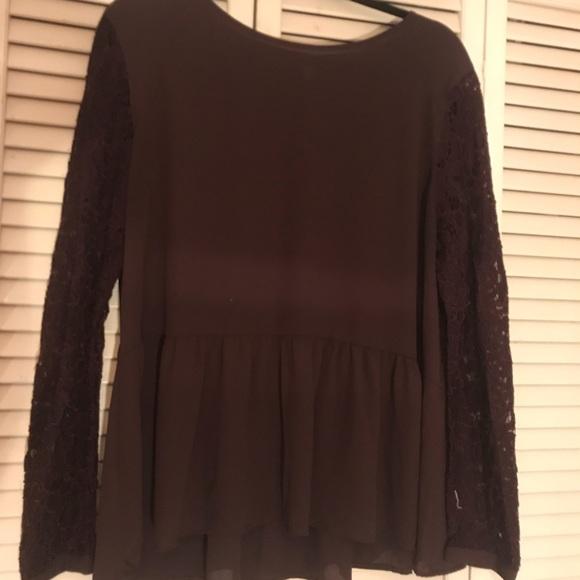 0225a4db LOFT Tops | Dark Purple Peplum Top With Lace Sleeves | Poshmark